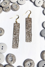Devil May Wear Speckled Filligree Earrings. Gold Plated. Gold Fill  Hooks. 2.5""