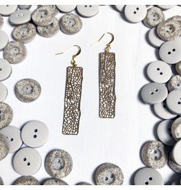 """Devil May Wear Speckled Filligree Earrings. Gold Plated. Gold Fill  Hooks. 2.5"""""""
