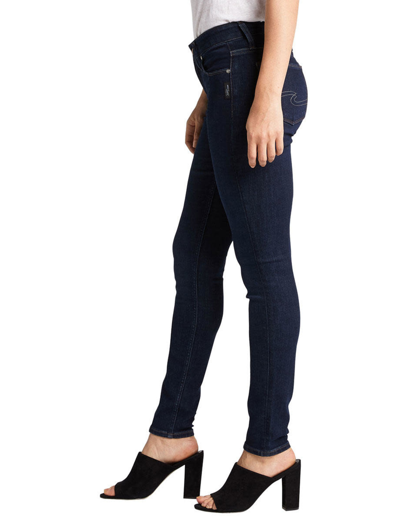 Silver Brand Jeans Avery Skinny Indigo Jeans. High Rise. Front Leg Seam Detail.