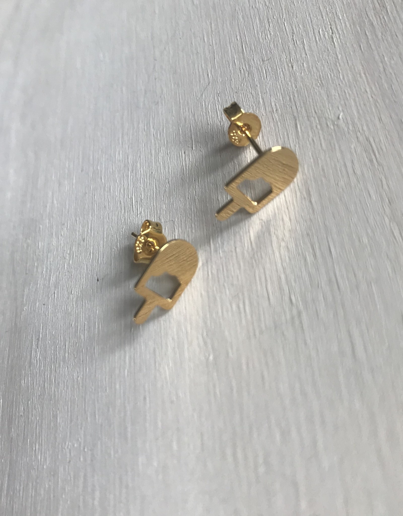 Young & Heart Popsicle Studs. Gold Plated.
