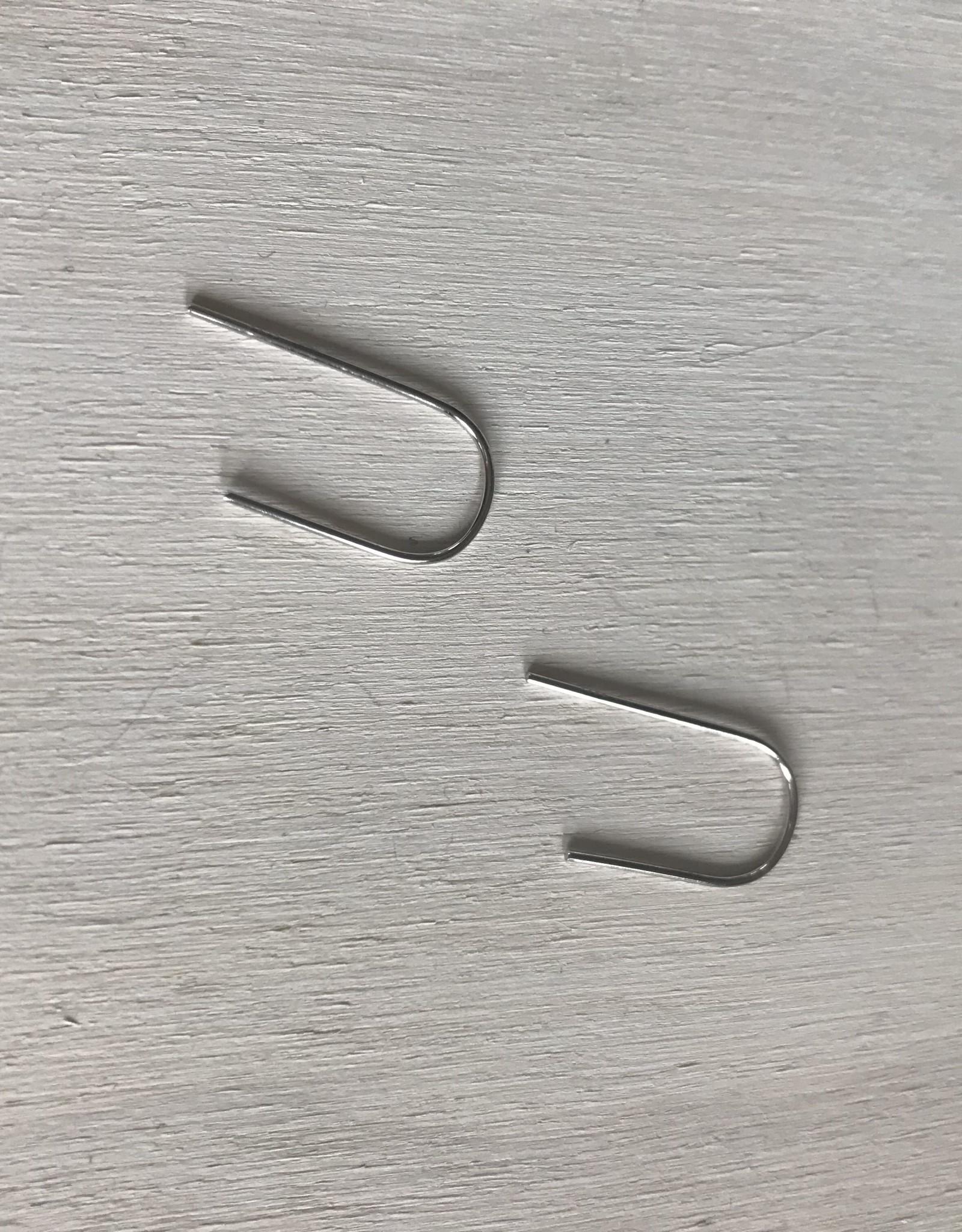 Devil May Wear U-Pin Earrings. Silver Plated.