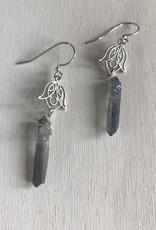 """Devil May Wear Fela Scrollwork Earrings. Raw Blue Flame Quartz. Silver Fill Hooks. 2"""""""