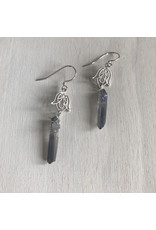 Devil May Wear Fela Scrollwork Earrings. Raw Blue Flame Quartz. Silver Fill Hooks. 2""