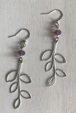 """Devil May Wear Beech Leaf Earrings. Silver Plated. Silver fill hooks. Swarovski Crystal. 1.5"""""""