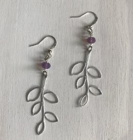 Devil May Wear Beech Leaf Earrings. Silver Plated. Silver fill hooks. Swarovski Crystal. 1.5""