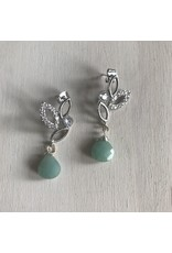 """Devil May Wear White Lilly Studs. Lots of Cubic Zirconia, Amazonite drop. Silver plated, Solid Silver Posts. 2"""""""