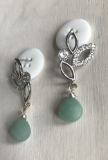Devil May Wear White Lilly Studs. Lots of Cubic Zirconia, Amazonite drop. Silver plated, Solid Silver Posts. 2""