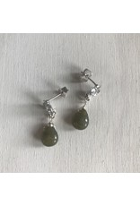 """Devil May Wear Flower Studs with Labradorite Drop. Cubic Zirconia. White Gold Plated. Silver Posts. 1/2"""""""
