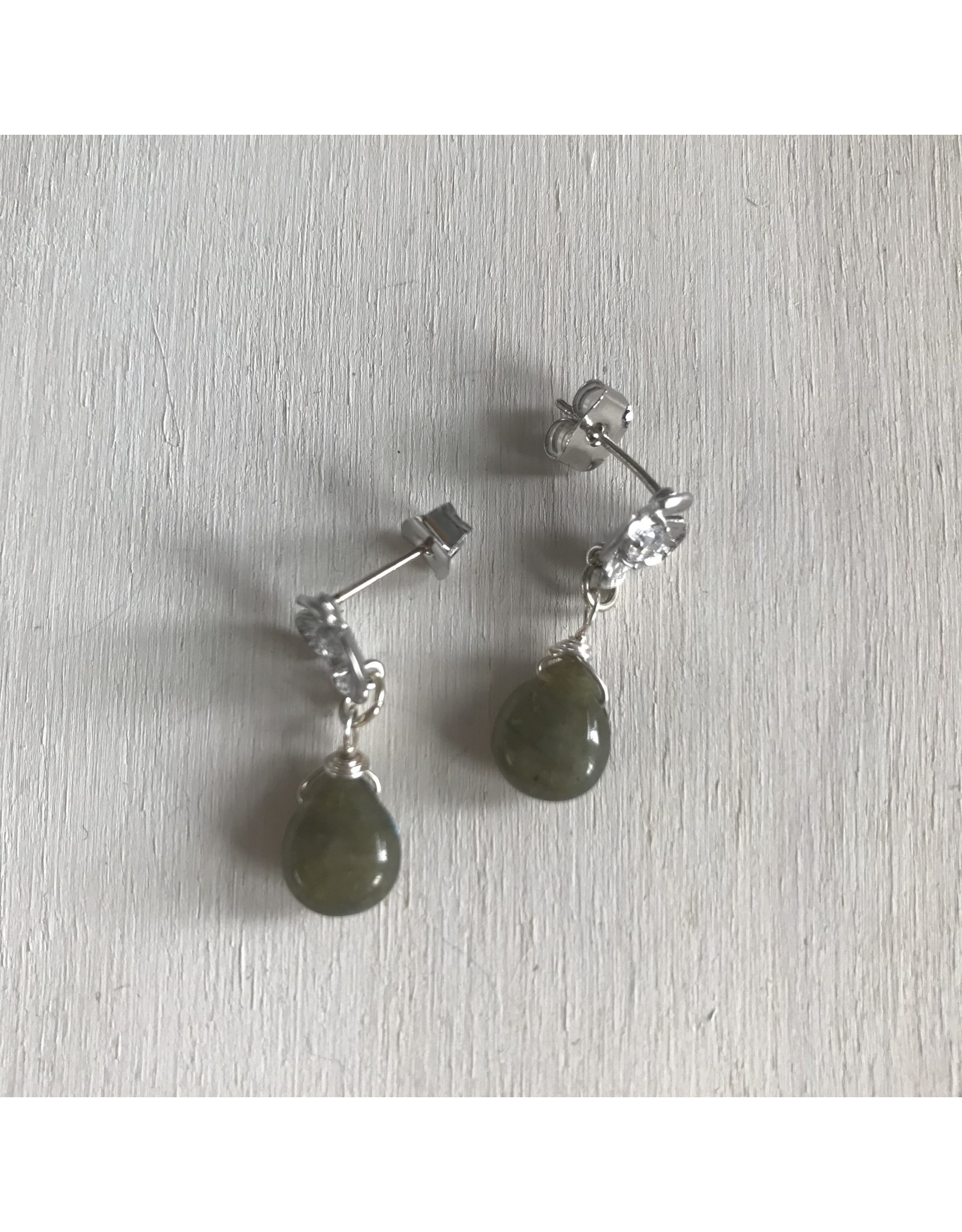 Devil May Wear Flower Studs with Labradorite Drop. Cubic Zirconia. White Gold Plated. Silver Posts. 1/2""