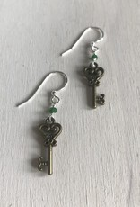 Devil May Wear Fairy Keys Earrings. Brass key. Chinese crystals. Silver Plated hook. 1.5""