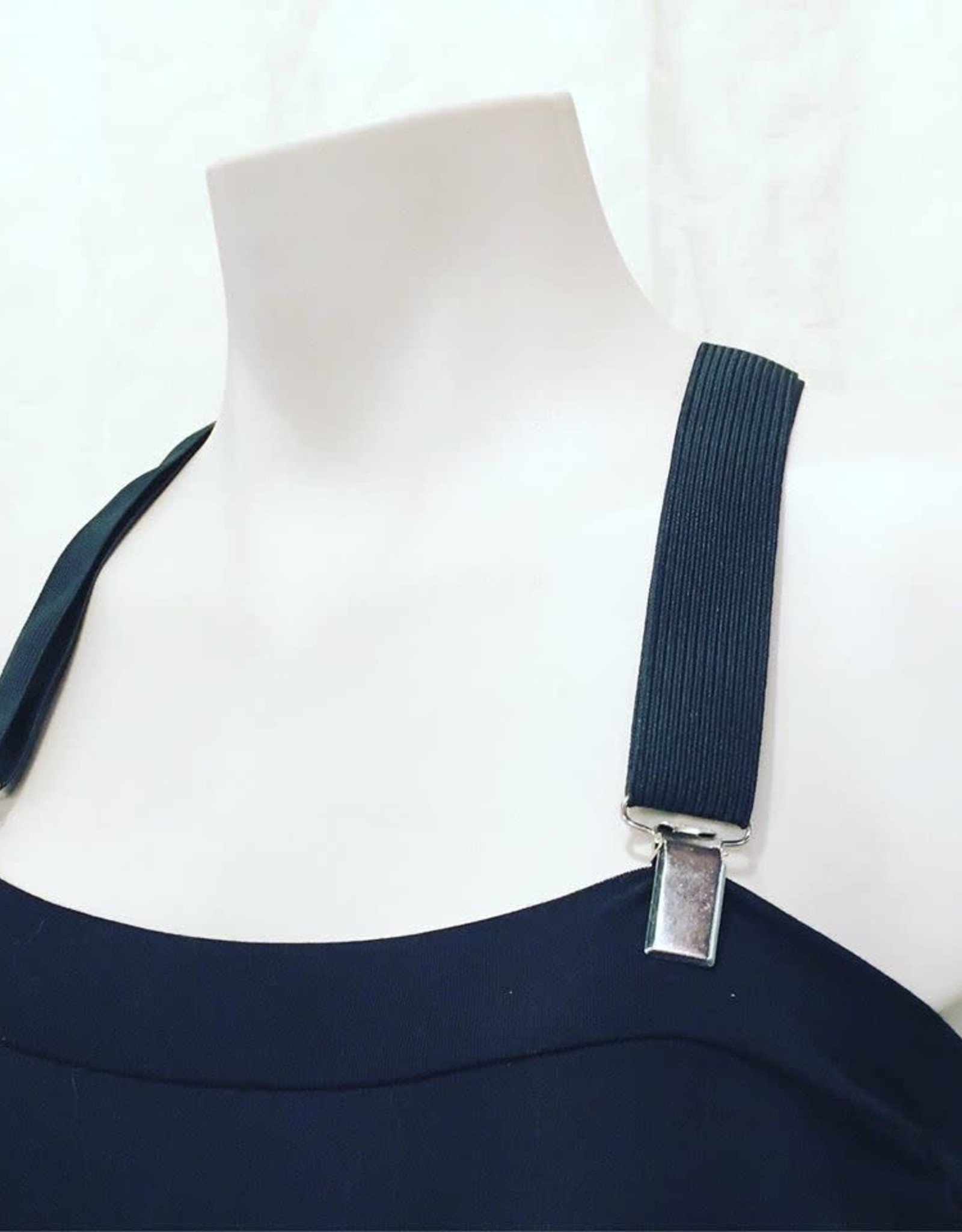 Devil May Wear Suspender Straps. 100% Elastic. Brass or Silver findings. Black. One Size