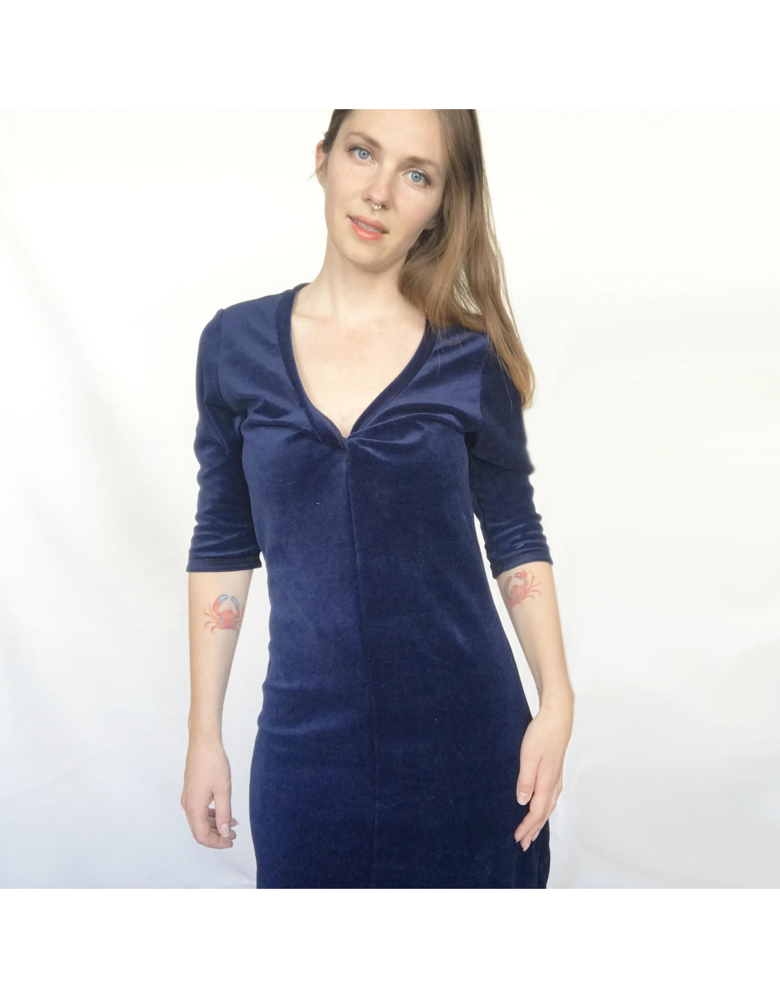 Devil May Wear Velvet Twist Dress. Navy