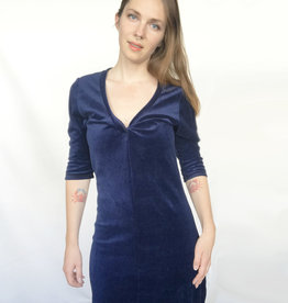 Devil May Wear Velvet Twist Dress. Navy