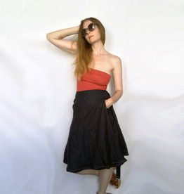 Devil May Wear Winona Denim Wrap Skirt. Tied waistband. A-Line Silhouette.