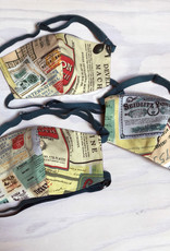 Devil May Wear Adjustable, Around the Head, Non Surgical Face Mask, Vintage Stamps Cotton