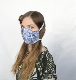 Devil May Wear Adjustable, Around the Head, Non Surgical Face Mask, Waves Batik Blue