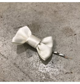 Devil May Wear White Satin Bow Bobby Pin, Silver Plated