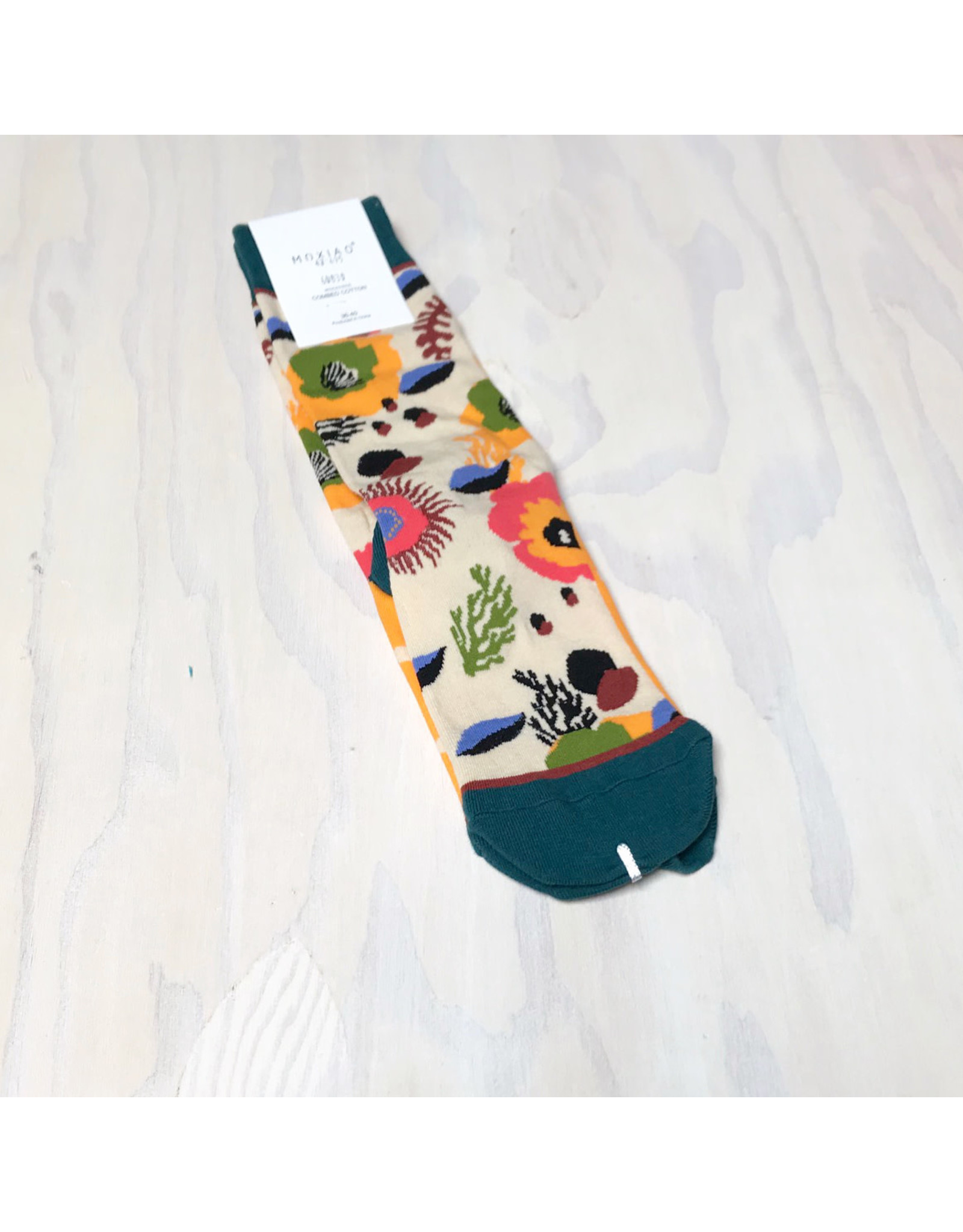 Young & Heart Botanical Socks with Teal Cuff