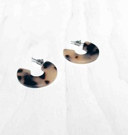 Young & Heart Resin Torti Hoops Small