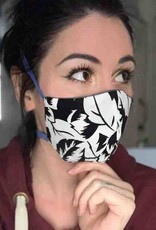 Devil May Wear Black and White Flower Non-Surgical Mask