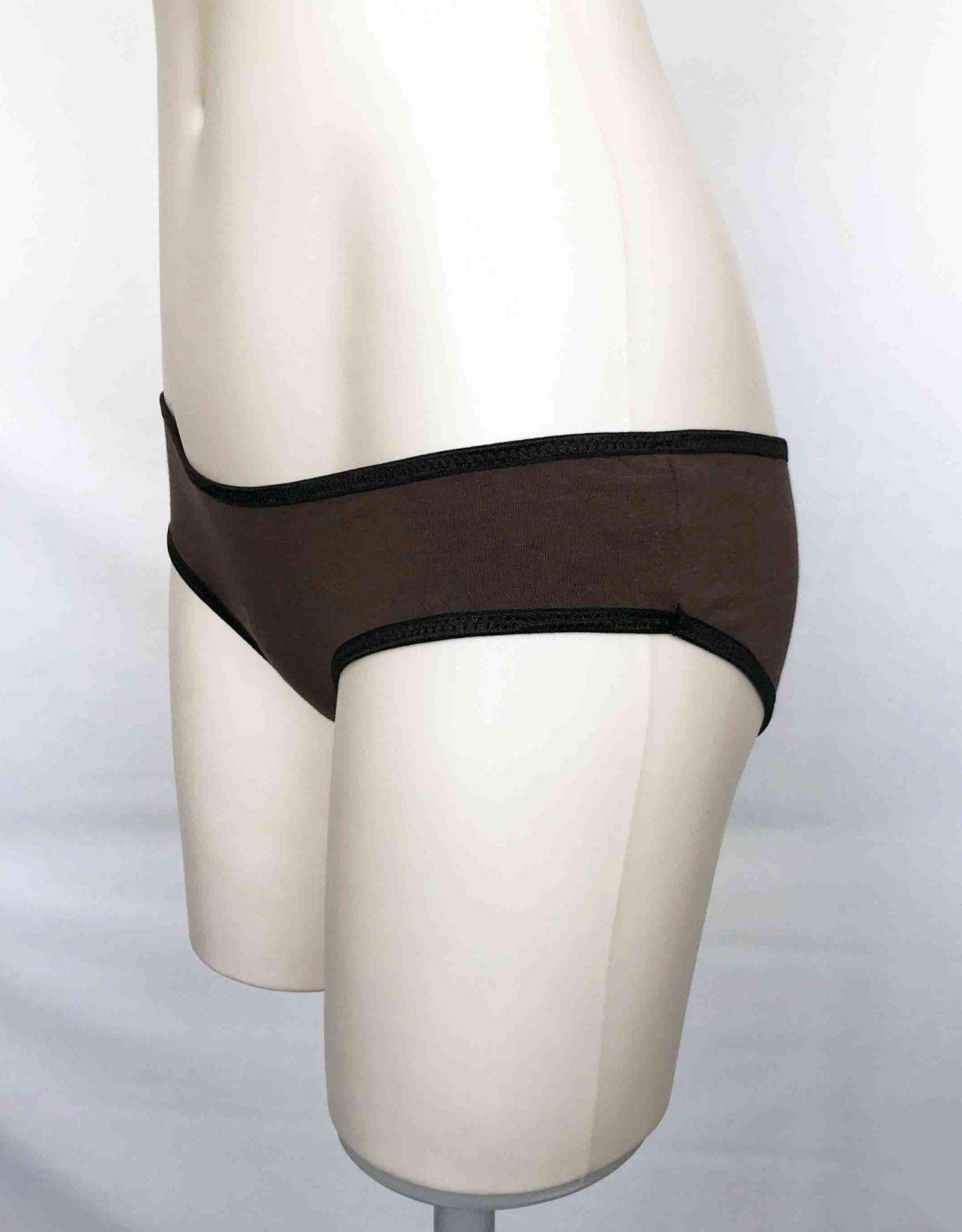 Devil May Wear Basic Bikini Cut Underwear. Bamboo Blend. Chocolate Brown