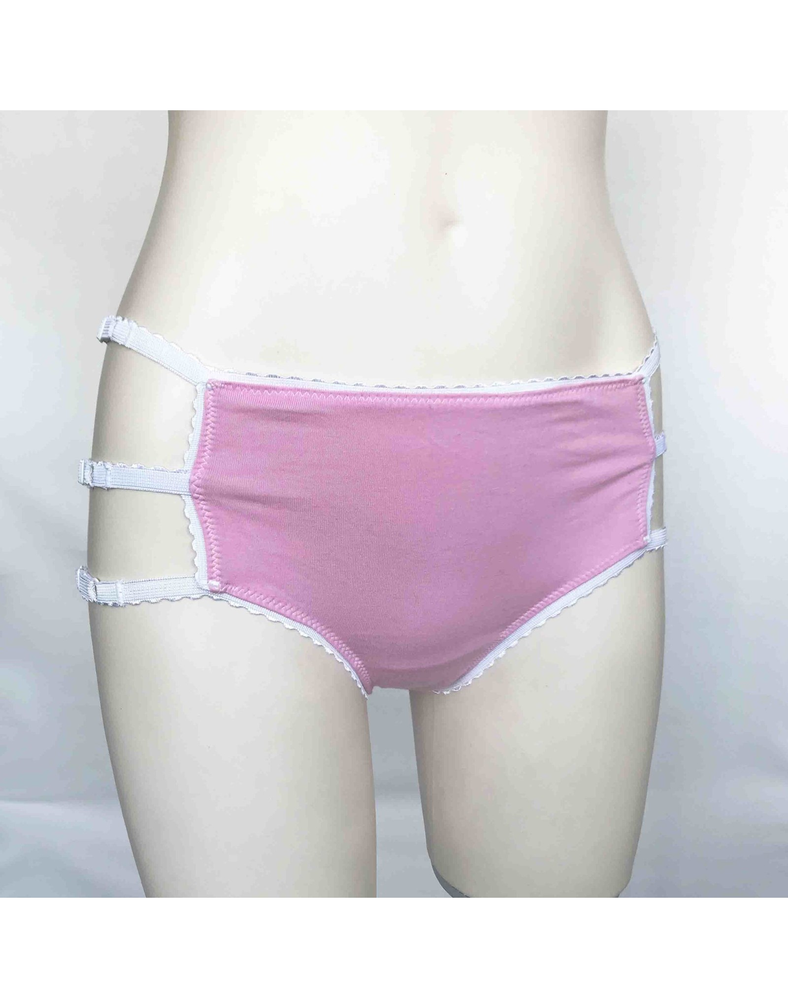 Devil May Wear Cage Panties. Bamboo blend. Adjustable size tabs. Mid Rise. Pink/White