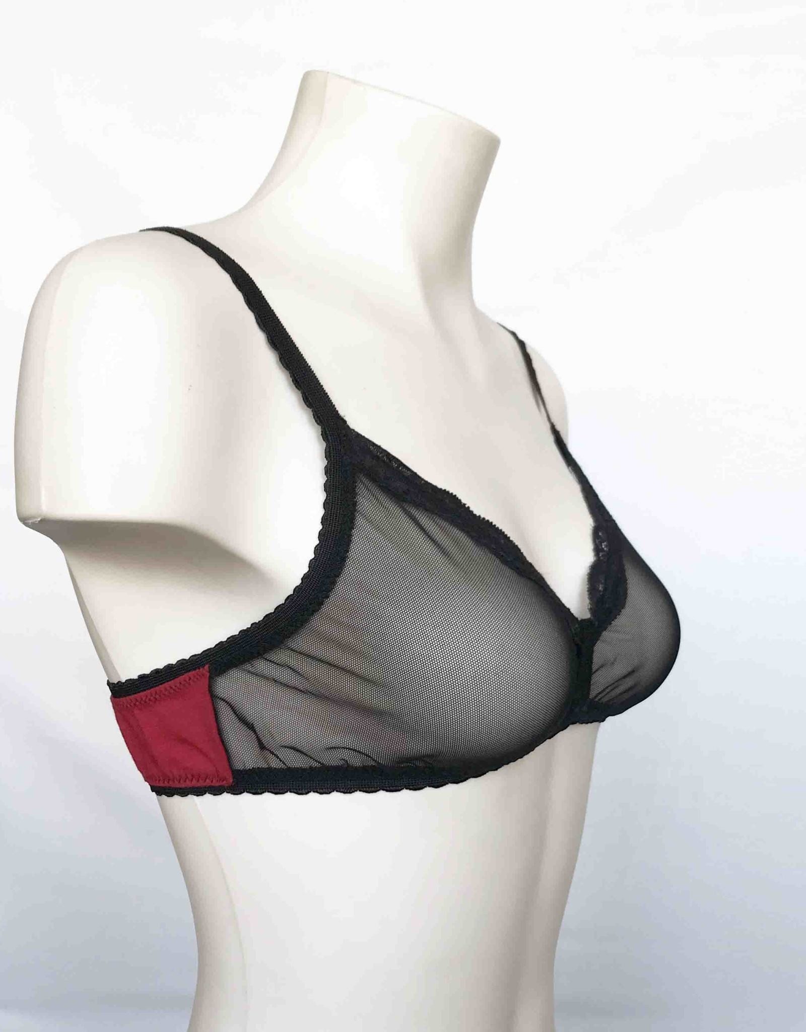 Devil May Wear Lola Bra. 100% Nylon Mesh Front, Bamboo Blend Back. Flame/Black