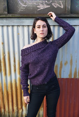 Devil May Wear Ganymede Purple Sweater. Hand knit. 50%silk, 50% Wool. Purple/Black. Medium
