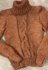 Devil May Wear Danile Turtleneck, Burnt Orange, Medium, 70% Wool, 30% Silk