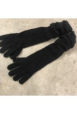 Young & Heart Long Rushed Gloves, Black, 50% Wool, 50% Acrylic