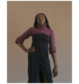 Devil May Wear Uber Crop Turtleneck, Small, Purple, 70% Wool, 30% Silk