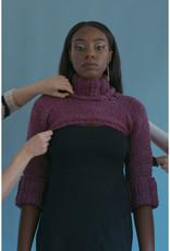 Devil May Wear Uber Crop Turtleneck, Small, Purple, 70% Wool, 30% Silk