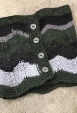 Devil May Wear Cheveron Scarflet, Green/Grey/Black 50% Alpaca, 50% Wool