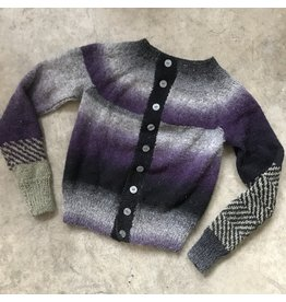 Devil May Wear Kepler Cardigan, 100% Wool, Small, Purple Haze