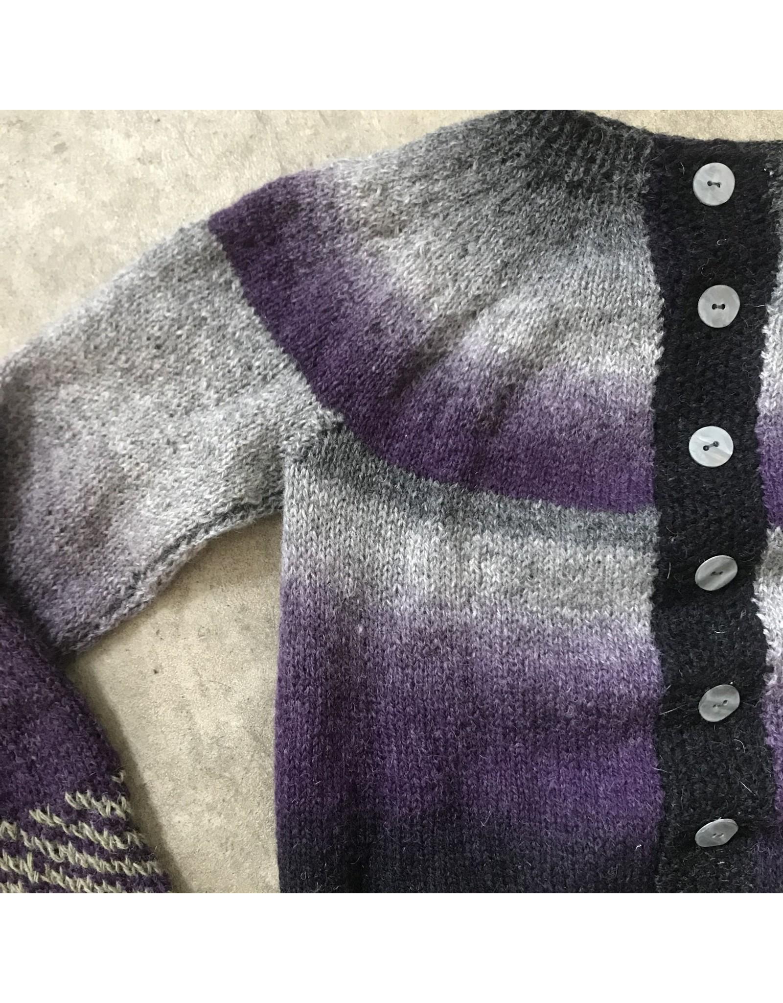 Devil May Wear Kepler Cardigan, 100% Wool, Small, Purple Haze
