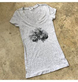 Devil May Wear Evening Rose V neck, Heather Grey Mix, 95% Cotton, 5% Spandex