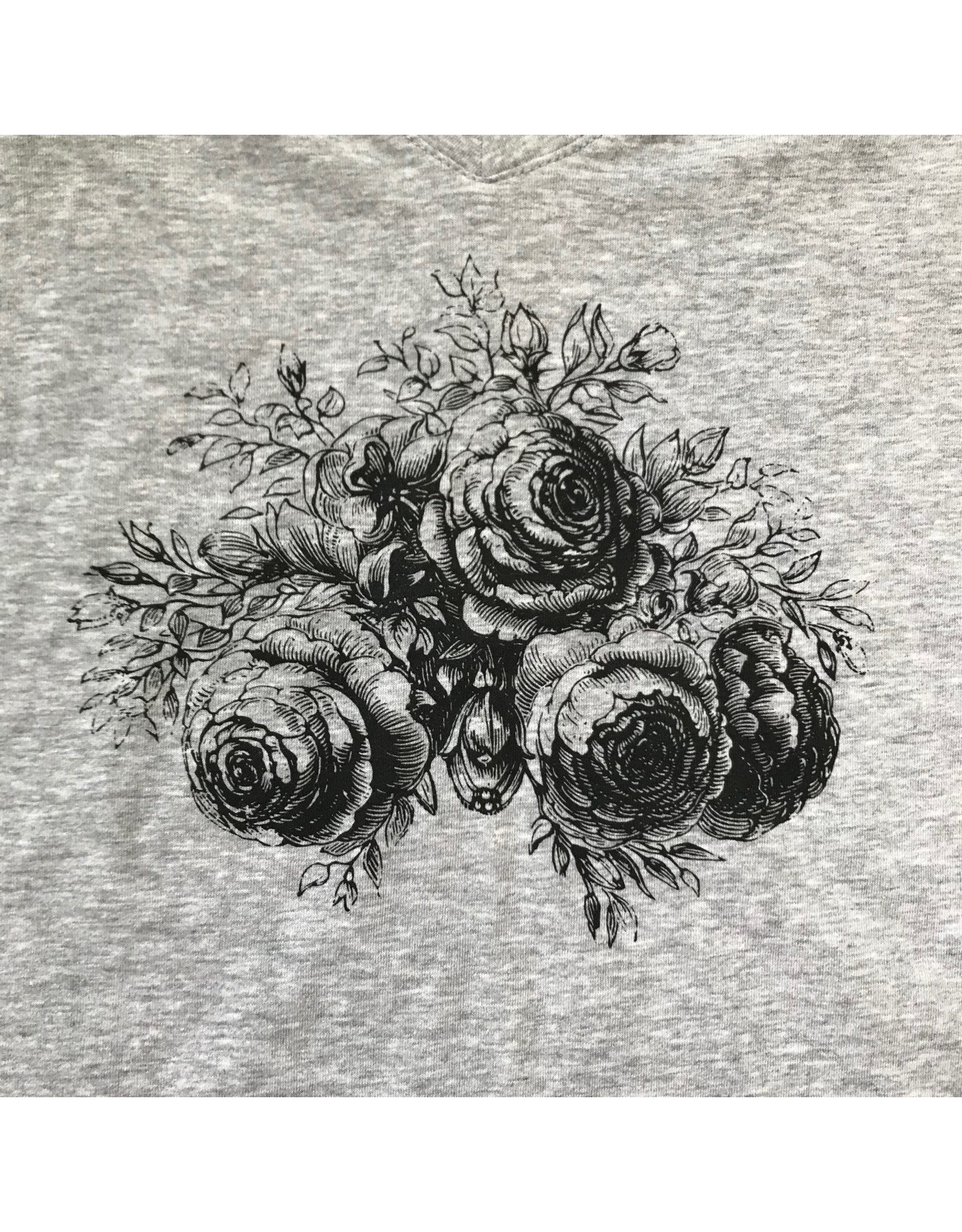 Devil May Wear Evening Rose V neck, Heather Grey Mix, 95% Cotton, 5% Spandex