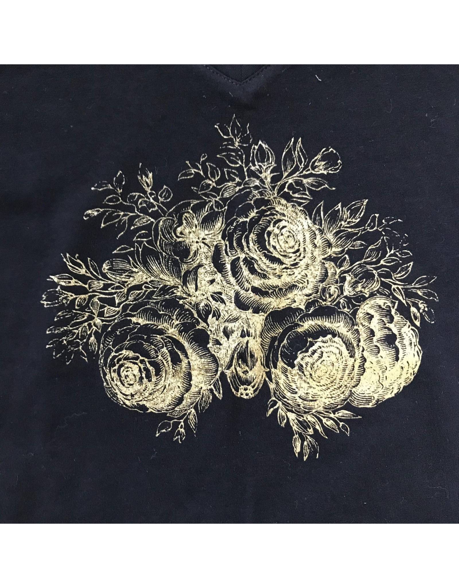 Devil May Wear Evening Rose V Neck, Black, 95% Cotton 5% Spandex