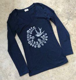 Devil May Wear Chickadee Long Sleeve Scoop, Navy, 95% Cotton, 5% Spandex