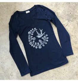 Devil May Wear Chickadee Long Sleeve Scoop, Navy, 95% Cotton, 5% Spandex