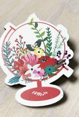 Devil May Wear Tiny Flower Wood Brooch, Globe
