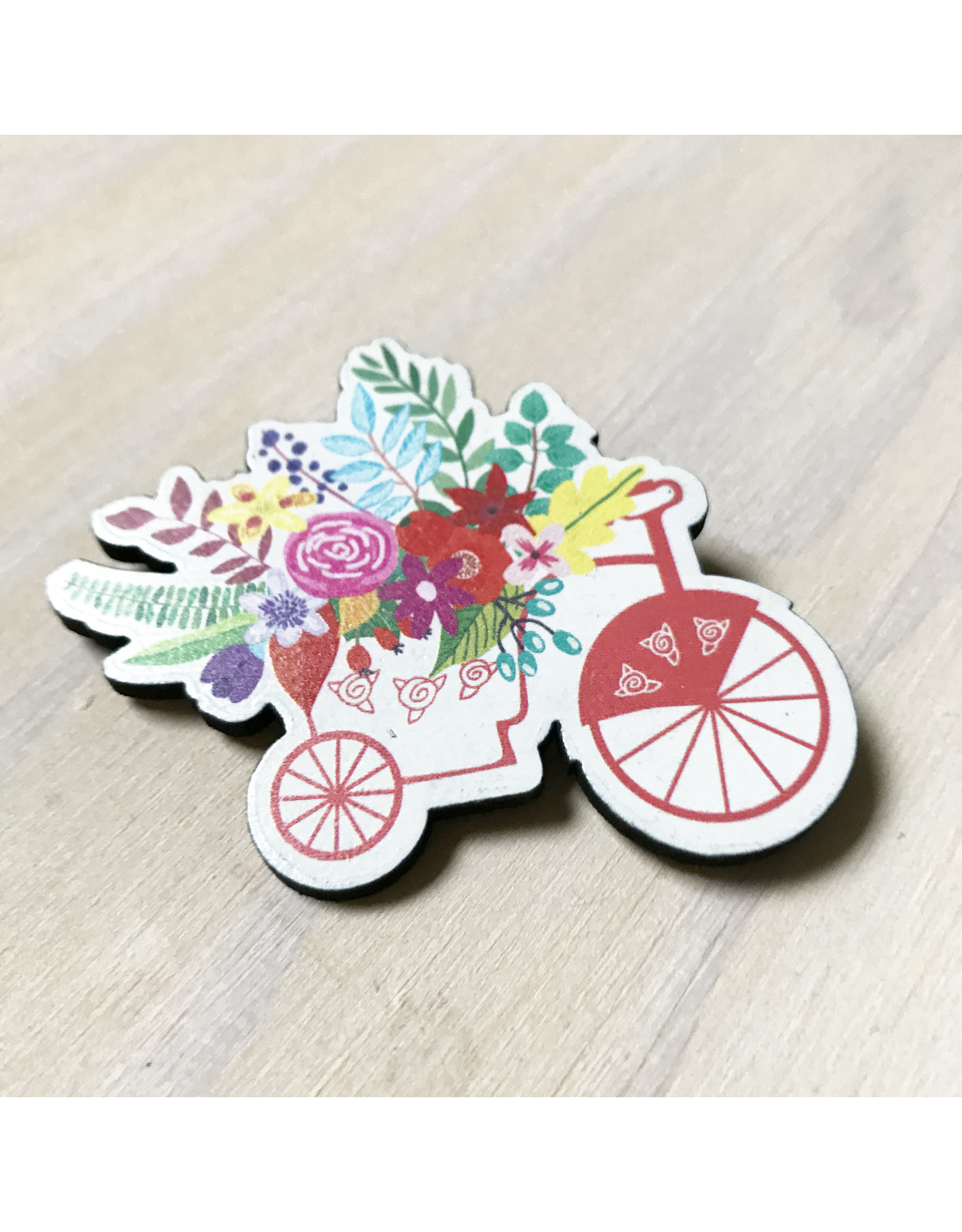 Devil May Wear Tiny Flowers Wood Brooch, Bike