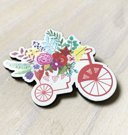 Devil May Wear Tiny Flowers Wood Brooch, Bike