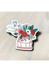 Devil May Wear Tiny Flowers Wood Brooch, Basket