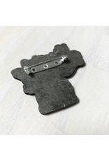 Devil May Wear Tiny Flowers Wood Brooch, Tea Pot