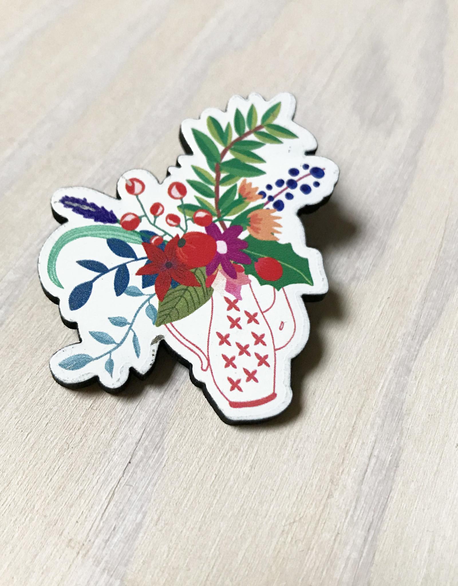 Devil May Wear Tiny Flowers Wood Brooch, Kettle