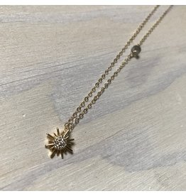 Devil May Wear Tiny Stardust Necklace, Cubic Zirconia Gold Plated Pendant, Gold Fill Chain