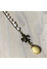 Devil May Wear Fleur De Lis Necklace, Brass, Czech Crystal, Yellow Turquoise
