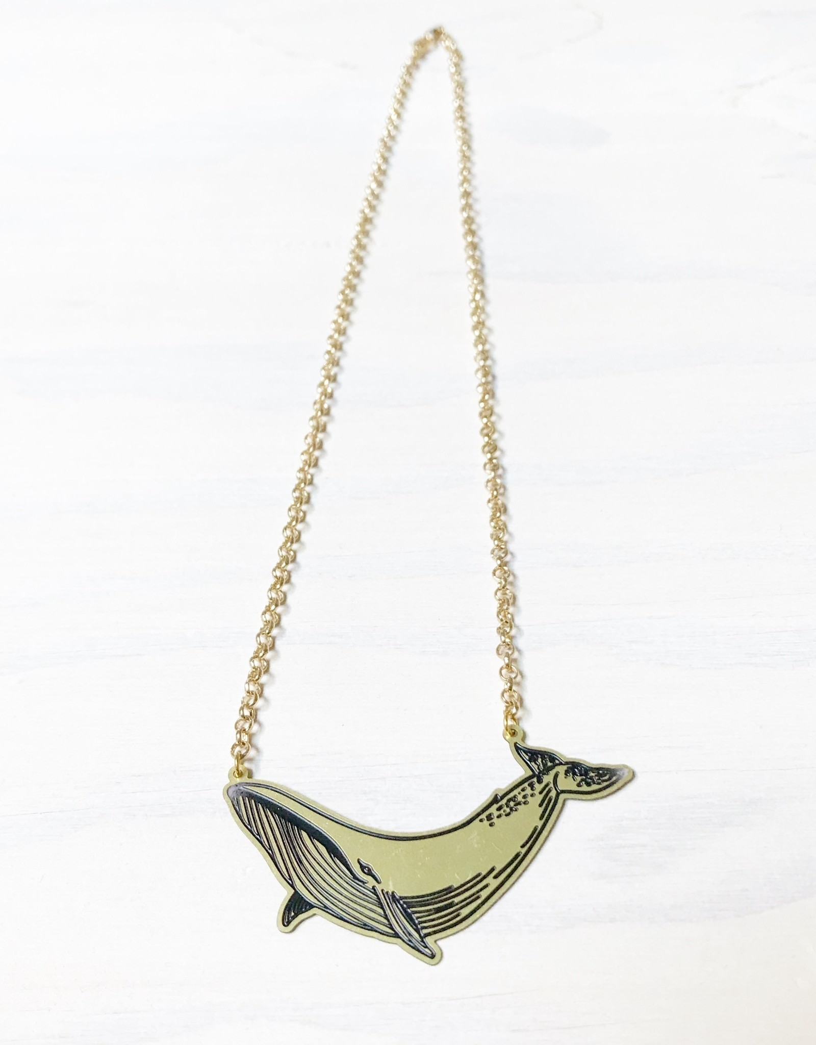 Devil May Wear Whale Tales Necklace, Brass, Gold Plated Chain