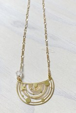 Devil May Wear Solar System Necklace, Brass, Gold Plated Chain, Herkimer Diamond